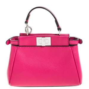 Fendi Magenta Leather Micro Peekaboo Top Handle Bag