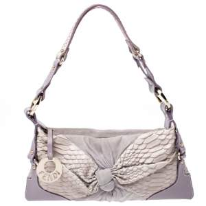 Fendi Lavender Python,Suede and Leather Knot Shoulder Bag