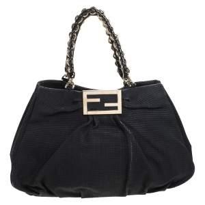 Fendi Black Textured fabric Large Mia Shoulder Bag