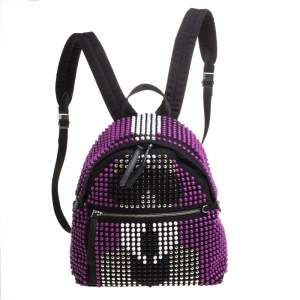 Fendi Black/Purple Nylon Karl Beaded Backpack