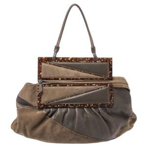 Fendi Brown Suede and Leather To You Clutch Bag