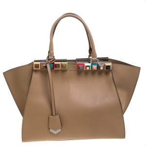 Fendi Beige Leather Petite Studded 3Jours Satchel