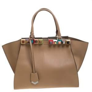 Fendi Beige Leather Petite Studded 3Jours Satchel