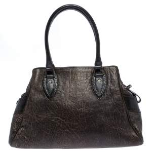 Fendi Dark Brown Shimmering Leather Chef De Jour Satchel