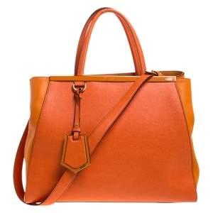 حقيبة فندي 2جور جلد برتقالي متوسطة