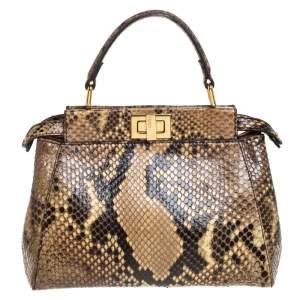 حقيبة فندي ميني بيكابوو جلد ثعبان بيج/أسود بيد علوية