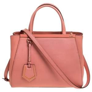 Fendi Peach Leather Mini 2Jours Tote
