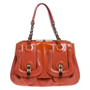 Fendi Orange Patent Leather 'B Bag