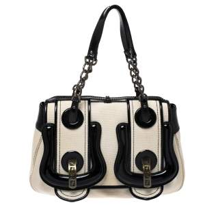 Fendi Cream/Black Canvas and Patent Leather B Shoulder Bag