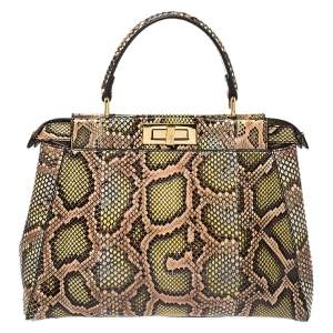 Fendi Tri Color Python Medium Peekaboo Top Handle Bag