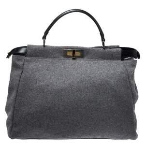 Fendi Grey Felt Fabric Large Peekaboo Top Handle Bag