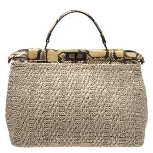 Fendi Beige Raffia and Python Large Peekaboo Top Handle Bag