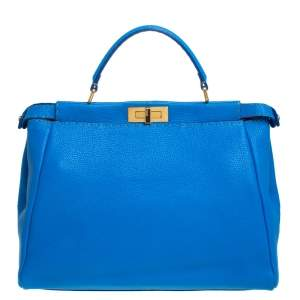 Fendi Blue Selleria Leather Large Peekaboo Top Handle Bag