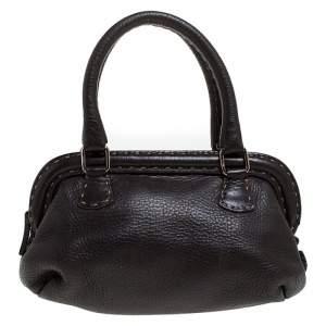 Fendi Dark Brown Leather Selleria Frame Satchel