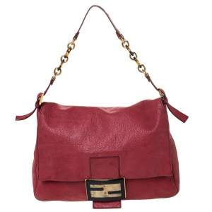 حقيبة كتف فندي قلاب كبيرة ماما فورفر جلد اريدسنت حمراء