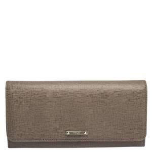 Fendi Beige Leather Flap Continental Wallet