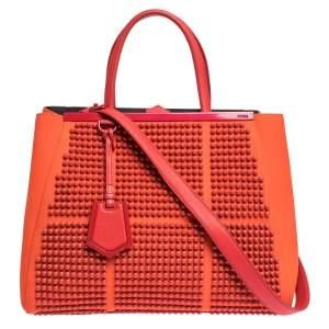 Fendi Orange Studded Neoprene and Leather Medium 2Jours Tote