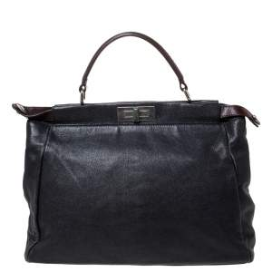 Fendi Black Leather with Suede/Beads and Python Lining Large Peekaboo Top Handle Bag