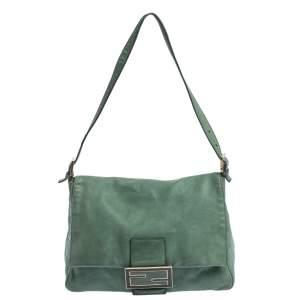حقيبة كتف فندي قلاب كبيرة ماما فورفر جلد اريدسنت خضراء