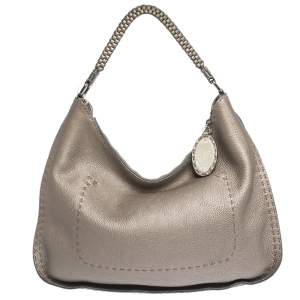 Fendi Metallic Grey Leather Selleria Hobo