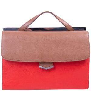حقيبة فندي ديمي جور جلد منقوش ثلاثي اللون بيد علوية
