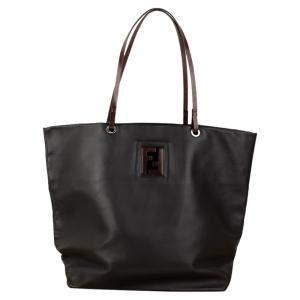 حقيبة يد فندي شوبر جلد بنية/ سوداء