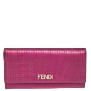 Fendi Magenta Leather Logo Flap Continental Wallet