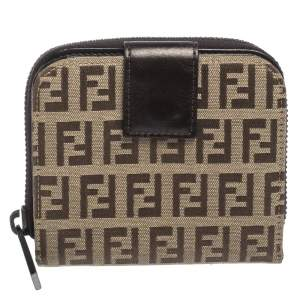 Fendi Beige/Brown Zucchino Canvas and Leather Compact Wallet