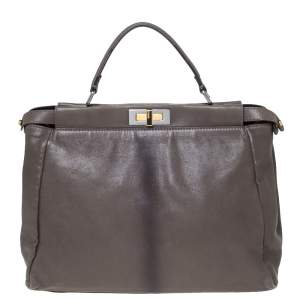 Fendi Grey Leather Large Peekaboo Top Handle Bag