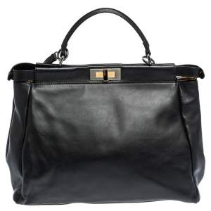 Fendi Black Leather with Watersnake and Suede Lining Large Peekaboo Top Handle Bag
