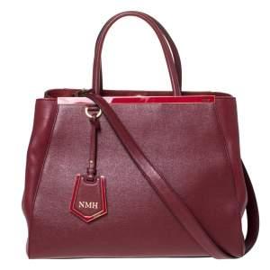 حقيبة يد فندي 2جور متوسطة جلد حمراء