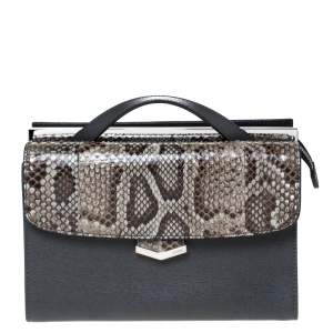 Fendi Multicolor Leather and Python Mini Demi Jour Shoulder Bag