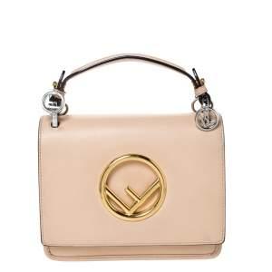Fendi Beige Leather Small Kan I F Shoulder Bag