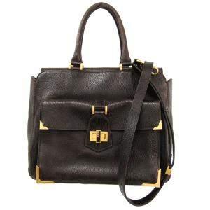 حقيبة كتف فندي جلد أسود منقوش