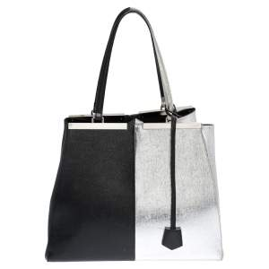 Fendi Black/Silver Leather Large 3Jours Tote