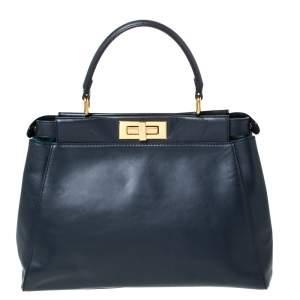 Fendi Navy Blue Leather Medium Peekaboo Top Handle Bag