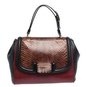 Fendi Black/Burgundy Leather and Python Silvana Top Handle Bag