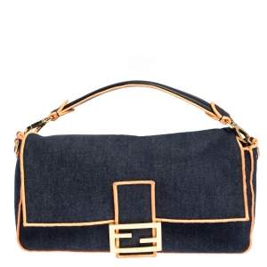 Fendi Blue/Orange Denim Mama Baguette Top Handle Bag