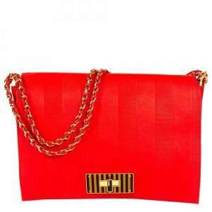 حقيبة فندي كلوديا جلد أحمر منقوش كبيرة بقلاب