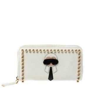 Fendi White Leather Karlito Zip Around Continental Wallet