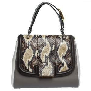 Fendi Multicolor Leather and Python Silvana Top Handle Bag