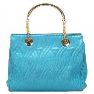 حقيبة فندي جلد أزرق مبطن