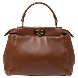Fendi Brown Leather Mini Peekaboo Top Handle Bag
