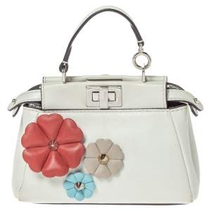 Fendi White Leather Micro Peekaboo Flowerland Top Handle Bag