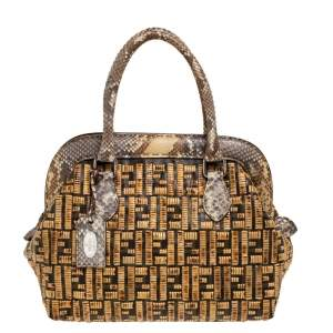Fendi Beige/Brown Zucca Coated Canvas, Rattan and Python Adele Satchel