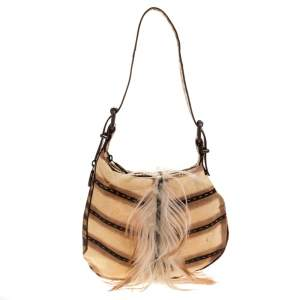 Fendi Cream/Brown Suede, Fur and Lizard Oyster Hobo