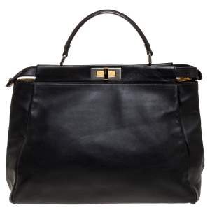 Fendi Black Leather with Suede and Python Lining Large Peekaboo Top Handle Bag