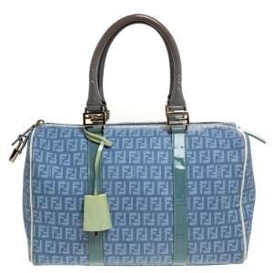 Fendi Multicolor Zucchino Coated Canvas and Patent Leather Forever Bauletto Boston Bag