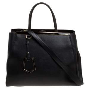 حقيبة فندي 2 جور متوسطة جلد سوداء