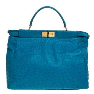 Fendi Aqua Blue Ostrich Large Peekaboo Top Handle Bag